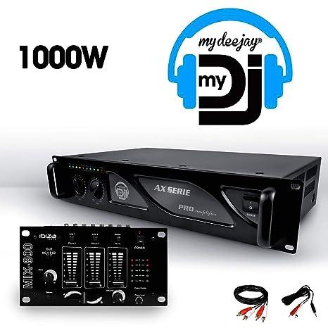 Amplificador sono 2 x 500 W My Deejay ax-1000 MyDJ + mesa de ...