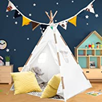 Teepee Tent for Kids with Lights, Flags, Floor and Carry Case – Large Foldable Play Tipee Tent for Boys, Toddler, Baby…