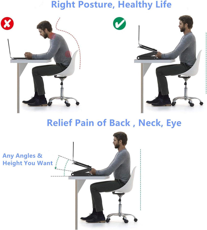 Leggera ergonomica TV Bed Lap Tray Stand Up Cool Fan Sitting-Black Lapdesk Computer portatile Stand Tavolo Scrivania ergonomica Scrivania con supporto per mouse Montaggio laterale