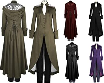 Amazon.com: Antais Womens Gothic Tailcoat Steampunk Bandage Hoodie Jacket Victorian Costume Mens