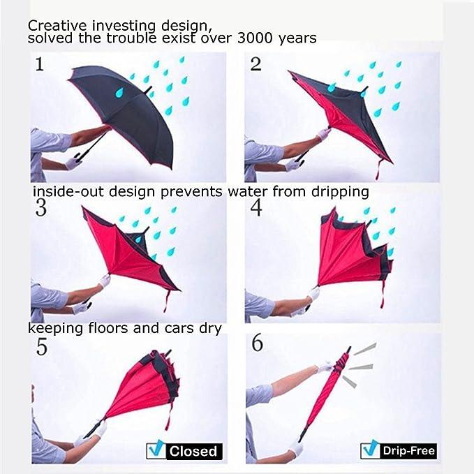 Mysj Innovador Nueva Reverse Paraguas, Doble Capa Paraguas invertido, Creative Coches Reverse Paraguas Recto Impermeable y Self Standing Inside out ...
