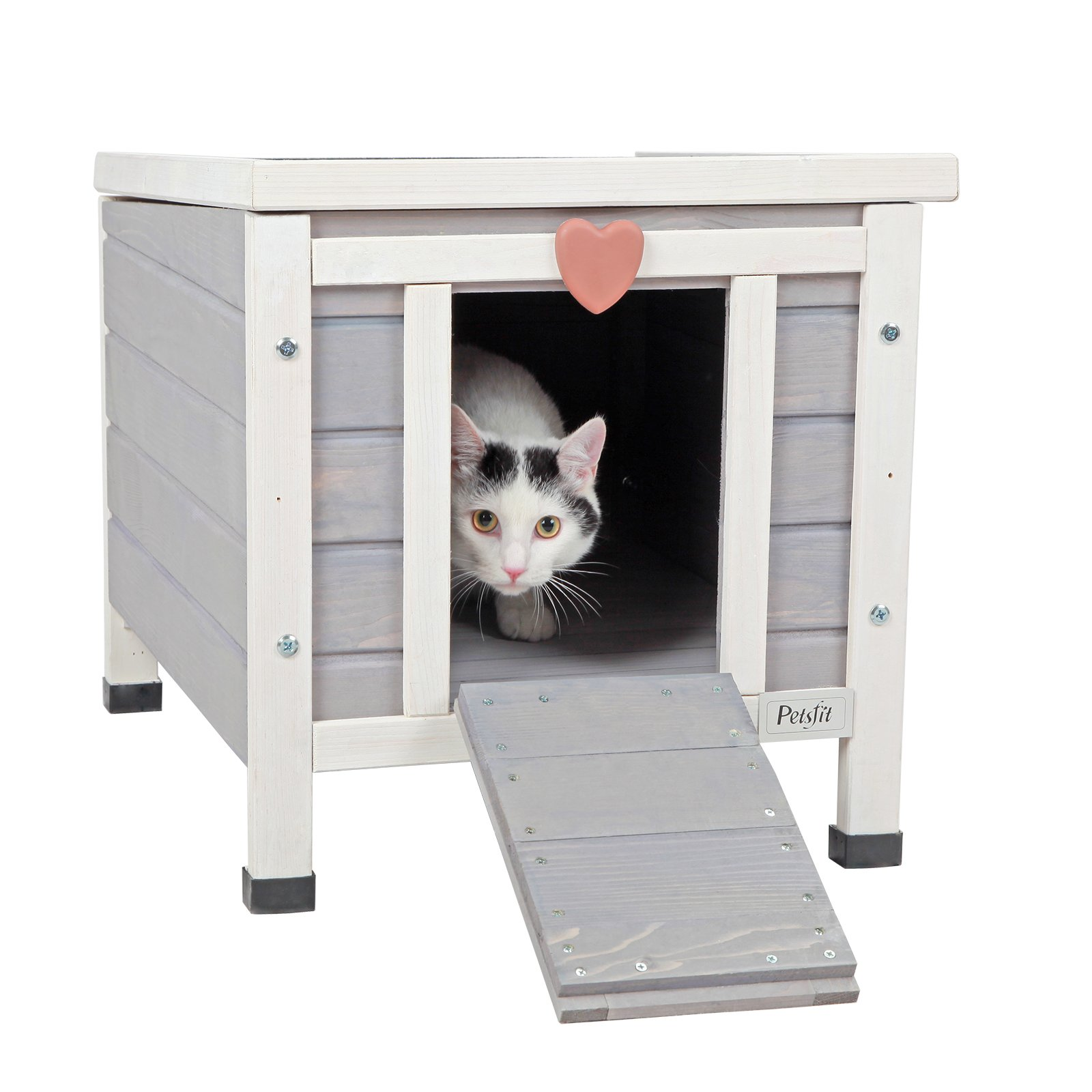 Petsfit Outdoor/Indoor Cat House,Ideal Cat Condo,Weatherproof Cat Shelter 16'' Wx17 Hx20 D