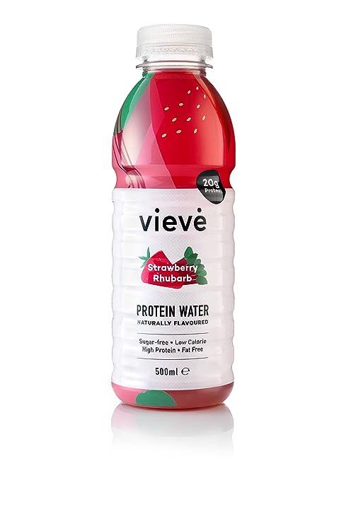 Vieve Protein Water 6x500ml - Fresa y Ruibarbo | Una verdadera alternativa a otras bebidas de