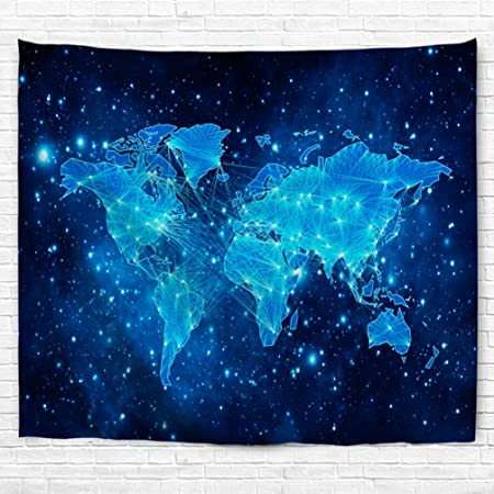 Starry world map tapestry goodbath universe nebel star in outer starry world map tapestry goodbath universe nebel star in outer space fabric wall hanging for gumiabroncs Gallery