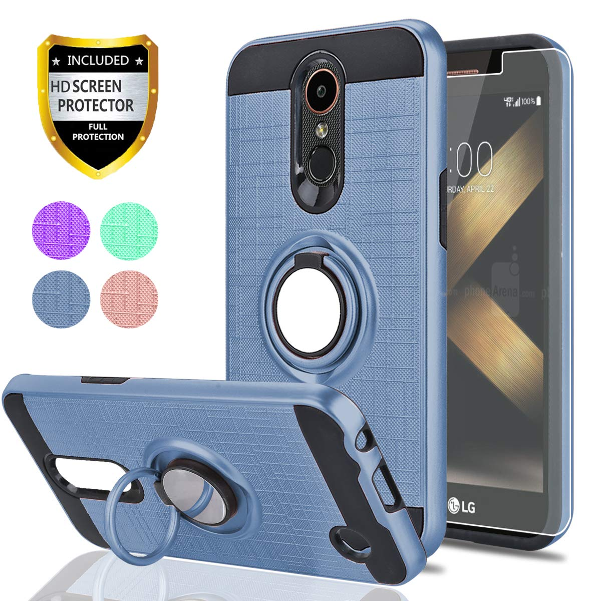 LG K20 Plus/K20 V/Harmony/Grace LTE/K10 2017 Case with HD Screen Protector,Ymhxcy 360 Degree Rotating Ring & Bracket Rubber Dual Layer Shock Bumper Resistant Back Cover for LV5-ZH Metal Slate