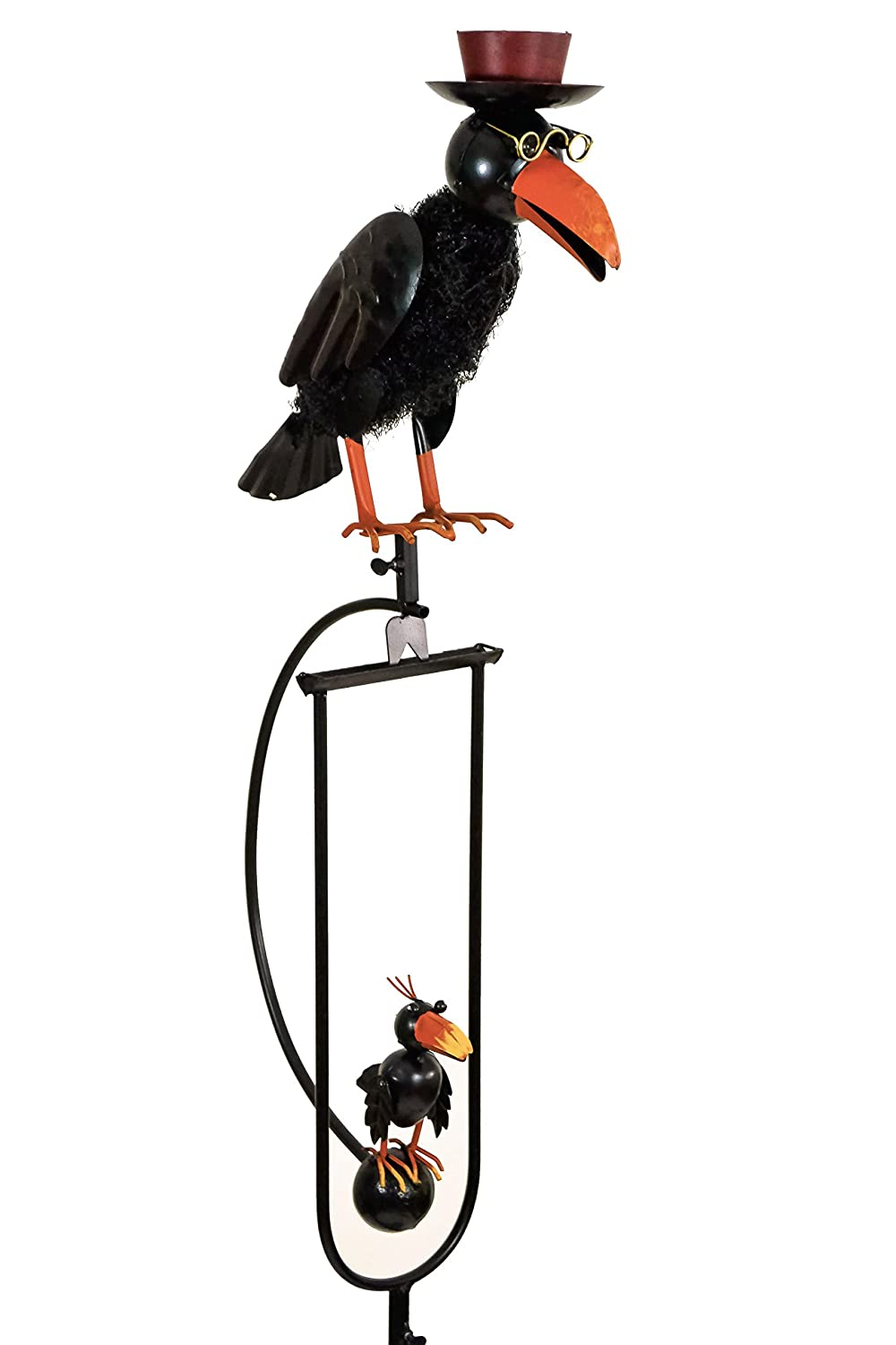 east2eden Rocking Balancing Black Dad & Baby Crow Metal Garden Wind Rocker Ornament