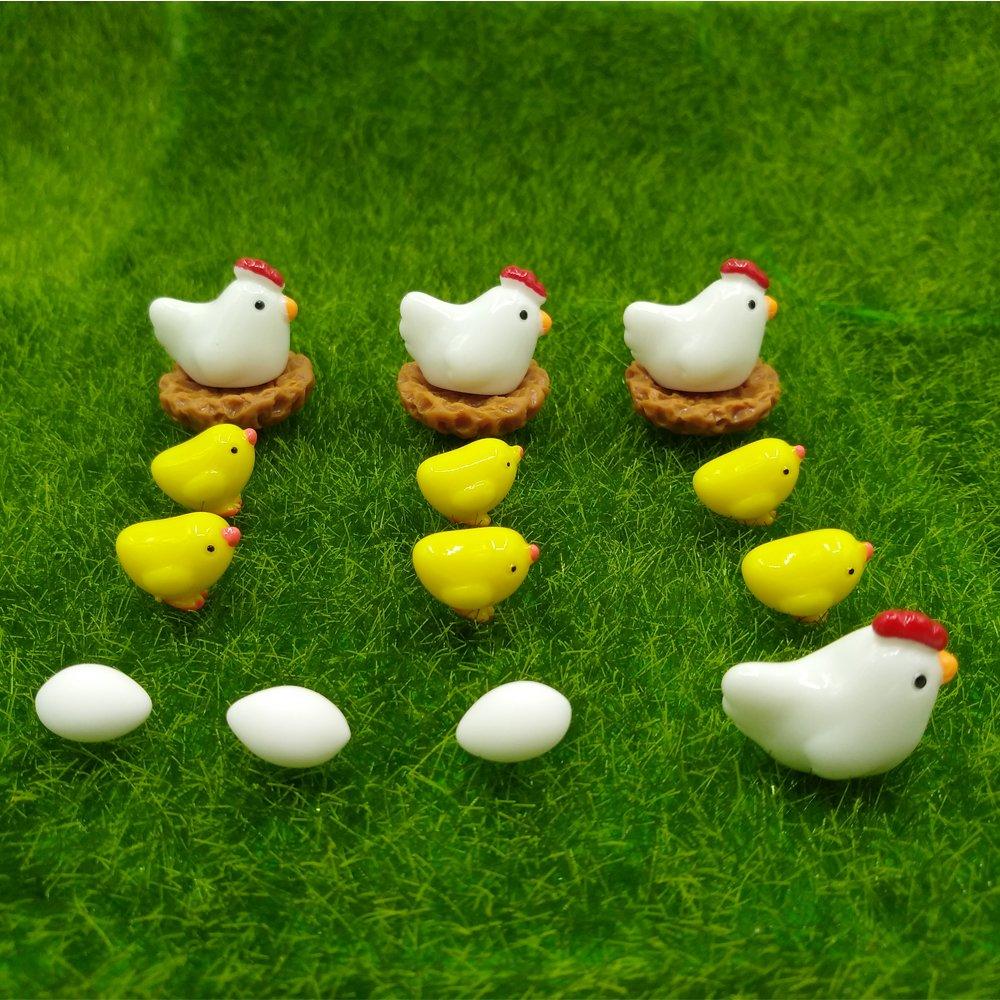 H/ühnerstall H/ühner H/ühner emien 16/St/ücke H/ühner H/ühner Familie Miniatur Ornament Kits Set f/ür DIY Puppenhaus Miniatur Ornament Dekoration Eier f/ür Fairy Garden Fairy Garden Pflanze Dekor