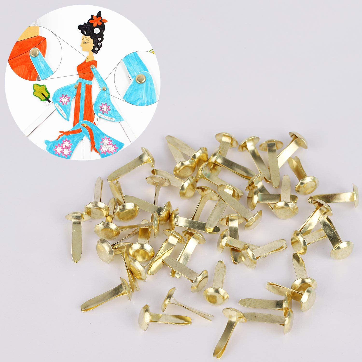1000 Pieces Mini Brads Paper Fasteners Steel Brad Fasteners for Scrapbooking//DIY Paper Crafts 5 Different Sizes