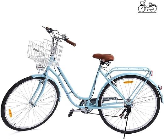 Paneltech 28 Pulgadas 7 Velocidad de Ciudad Bicicleta de Ciudad para Mujer Hombre Paseo Citybike Compras Commute para Bicicleta con luz Delantera y luz Trasera y Cesta (Azul): Amazon.es: Deportes y aire