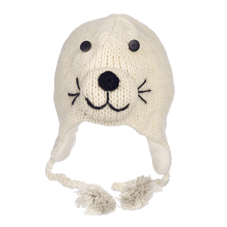 16df34734 Fun Seal Handmade Winter Woollen Animal Hat with Fleece Lining, Unisex White