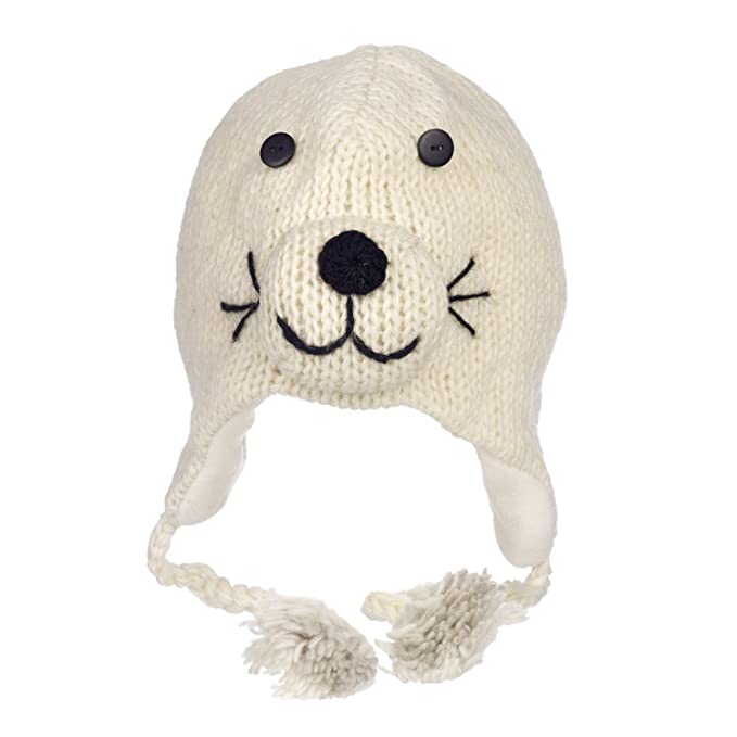 349b54a940e Paper High Men s Fun Seal Handmade Winter Woollen Animal Hat with Fleece  Lining One Size White