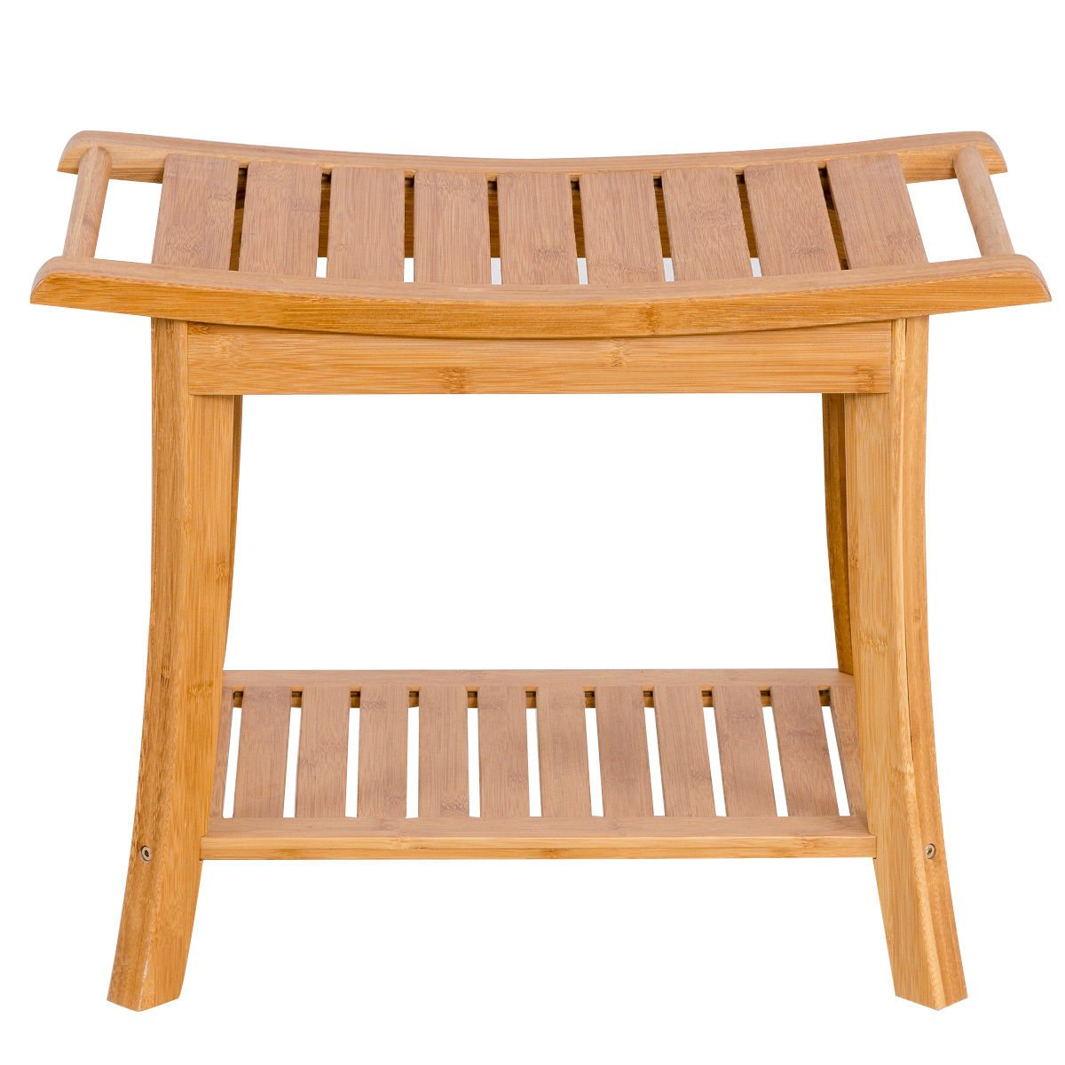 Heaven Tvcz Seat Bench Bamboo Shower Racks Shelf Bathroom Spa Bath Organizer Stool w/Storage