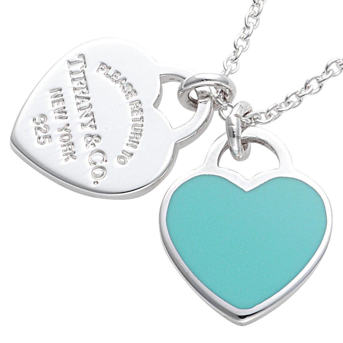 93cab4e86 Tiffany Sterling Silver/Blue Enamel Finish Rtt Double Heart Tag Pendant  Necklace 27125107: Amazon.co.uk: Jewellery