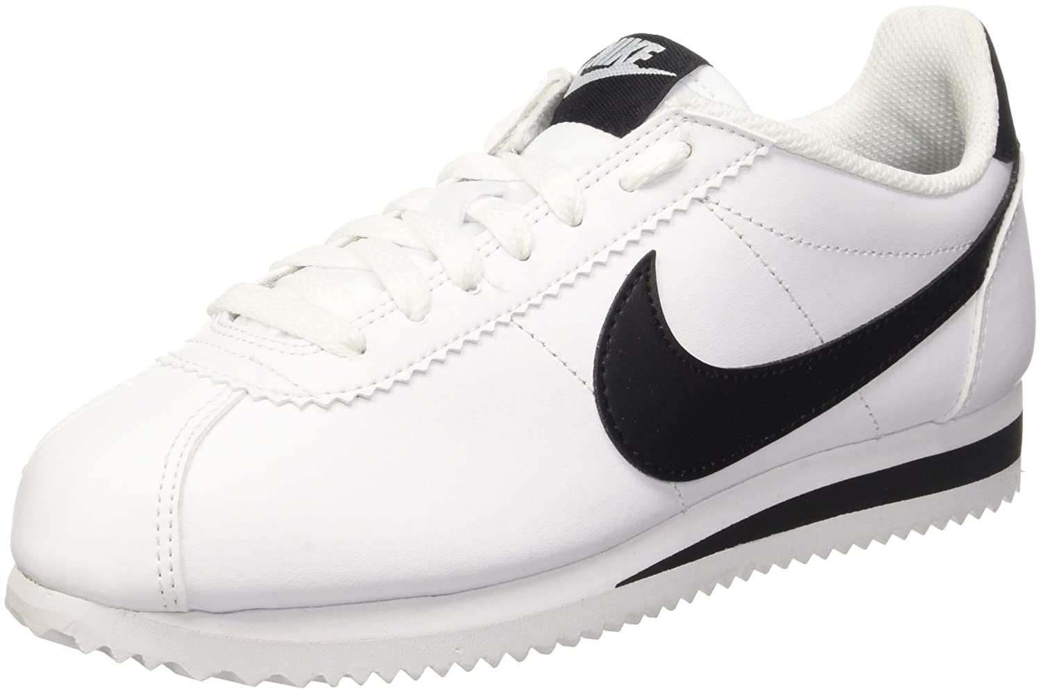 NIKE Women's Classic Cortez Leather Casual Shoe B01DYXQECW 10.5 B(M) US|White / Black