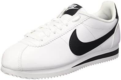 6fad37ff51cc Nike 807471-101  Women s Classic Cortez Leather White Black Casual Sneaker  (5.5