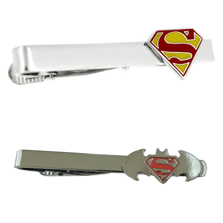 DC Comics - Superman & Batman VS Superman - Tiebar Tie Clasp Set of 2 Wedding Superhero Logo w/Gift Box Outlander Brand