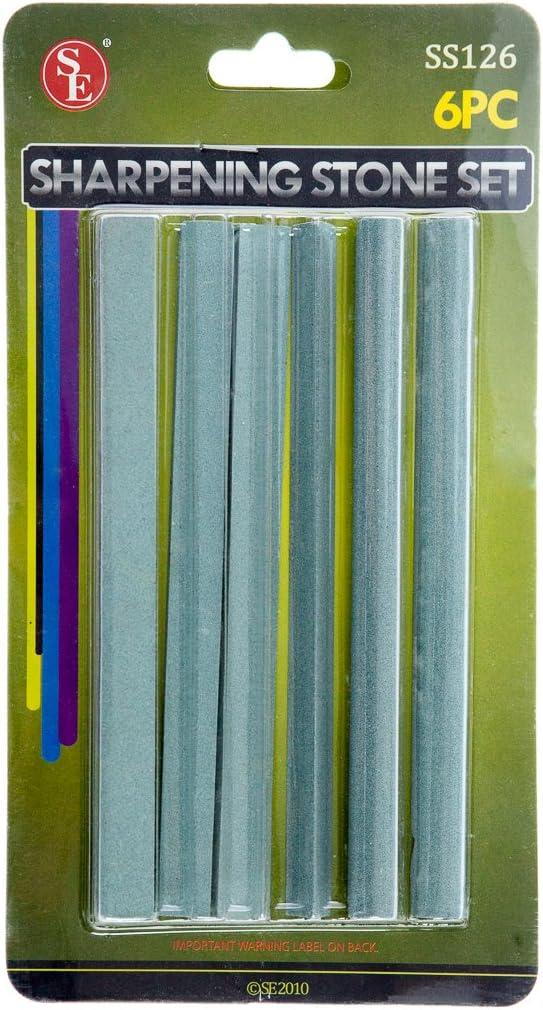 SE SS126 6-Piece Silicone Carbide Sharpening Stone Set 6-Inch X1-Inch X1//2-Inch