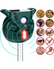 SONYANG Solar Animal Repeller, Outdoor Waterproof Ultrasonic Raccoon Repellent, Activated Motion PIR and Flashing Light for Cats, Dogs, Squirrels, Moles, Rats, Rabbits, Birds, Skunks, Foxes