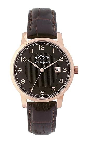 Rotary Les Originales GS90077/04 - Reloj para hombres, correa de cuero color marrón