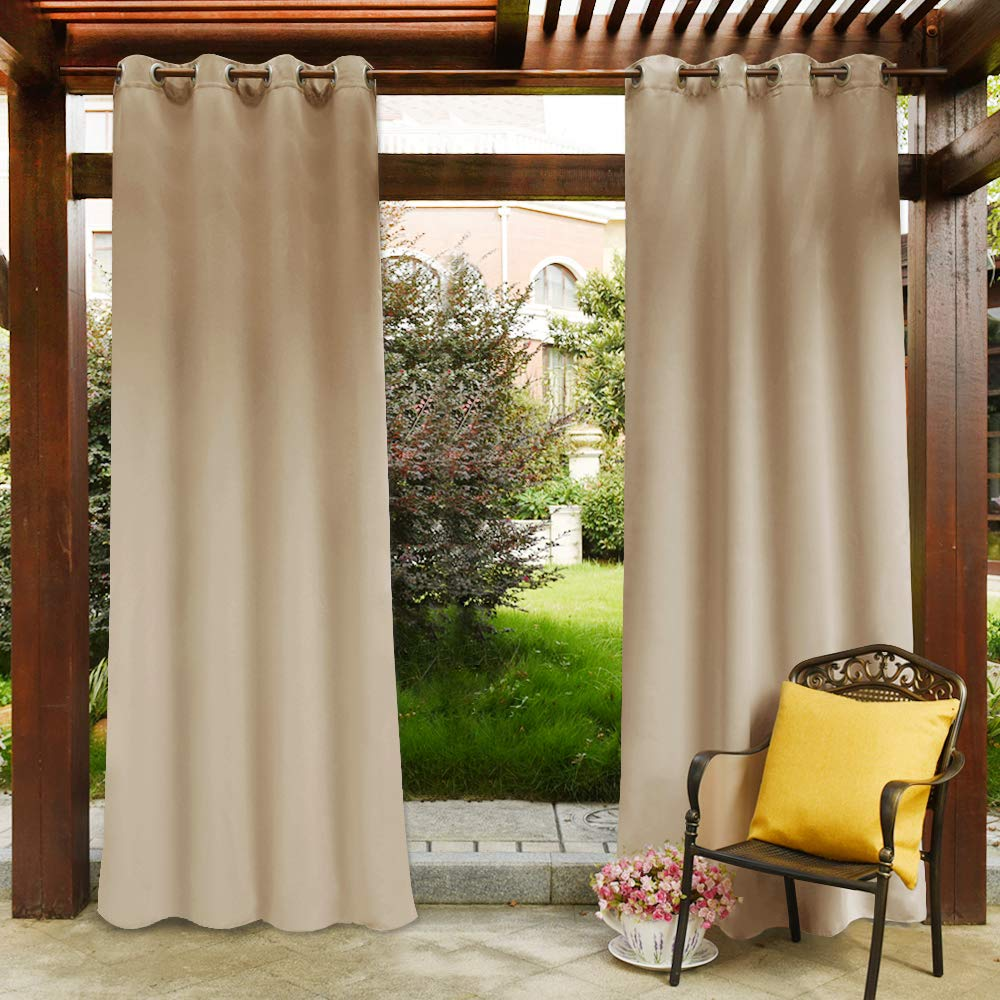 PONY DANCE Outdoor Curtain Drapes - Thermal Insulated Blackout Curtains with Grommets Fabric Waterproof Heavy-Duty for Porch, 52 Wide by 84 Long, Biscotti Beige, Sold as 1 Panel