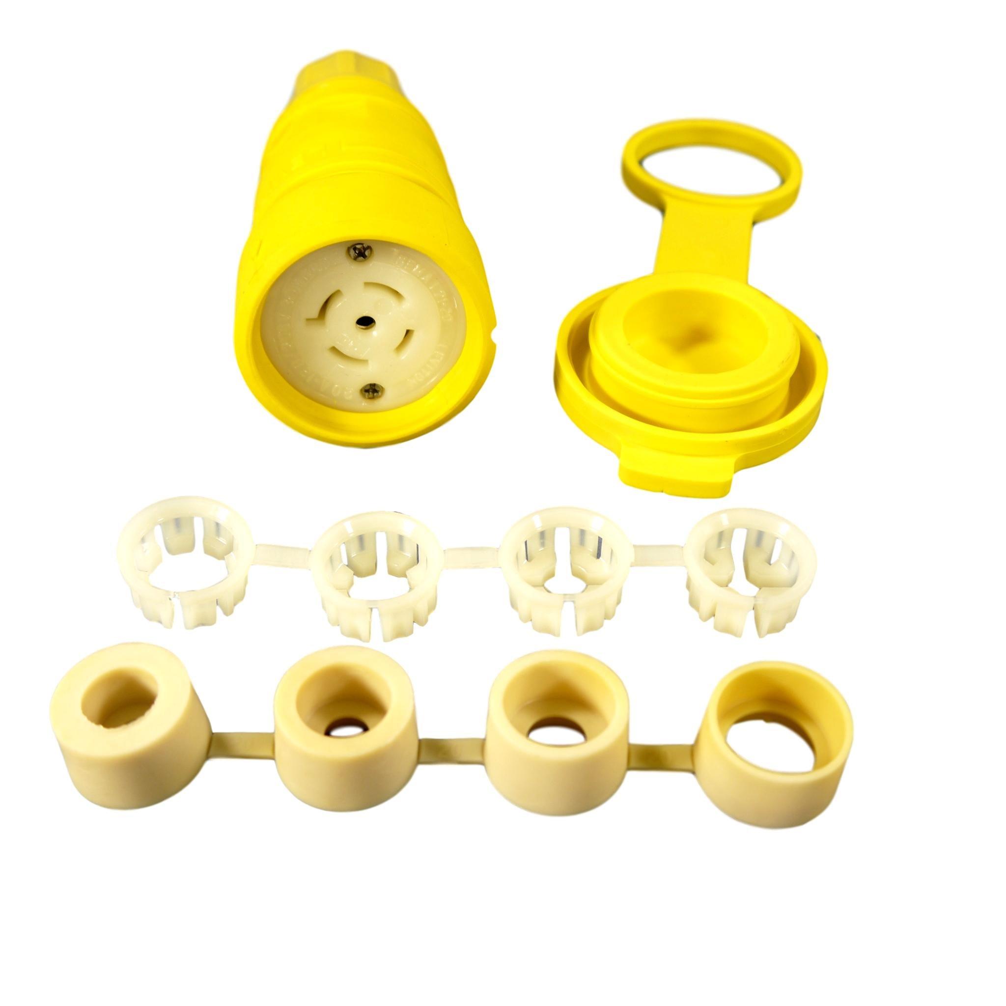 Leviton 27W81 20-Amp, 120/208-Volt 3PY, NEMA L21-20R, 4P, 5W, Locking Connector, Industrial Grade, Grounding, Wetguard, Yellow