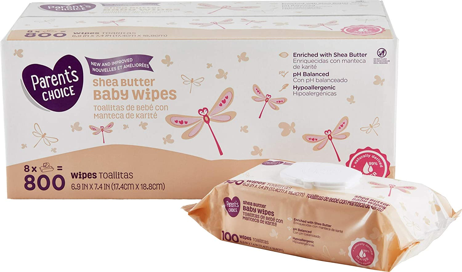 Amazon.com : Parents Choice Shea Butter Baby Wipes, 3 Packs of 80 (240 Count) : Baby