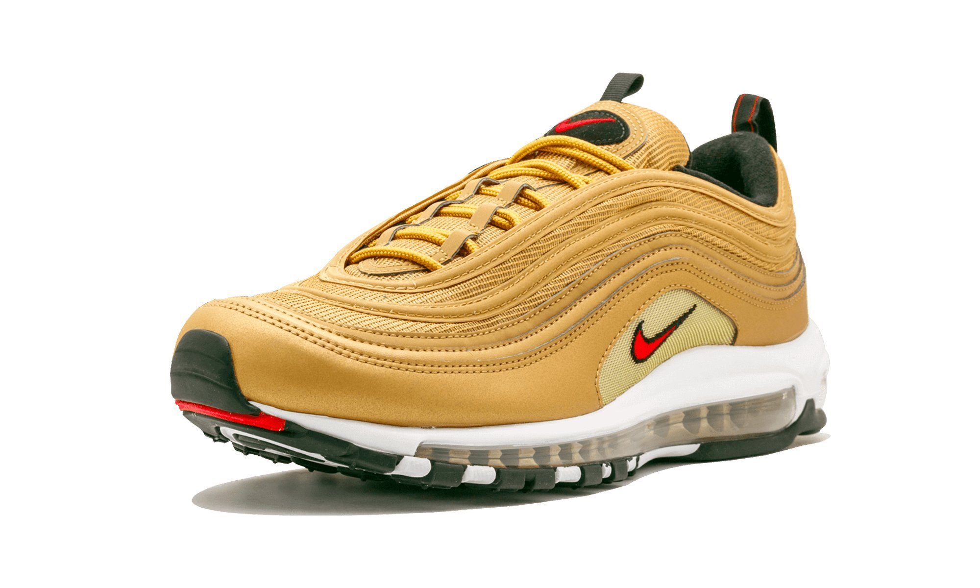 Nike AIR MAX 97 OG QS Mens Fashion Sneakers 884421 700_10.5 Metallic GoldVarsity RED White Black