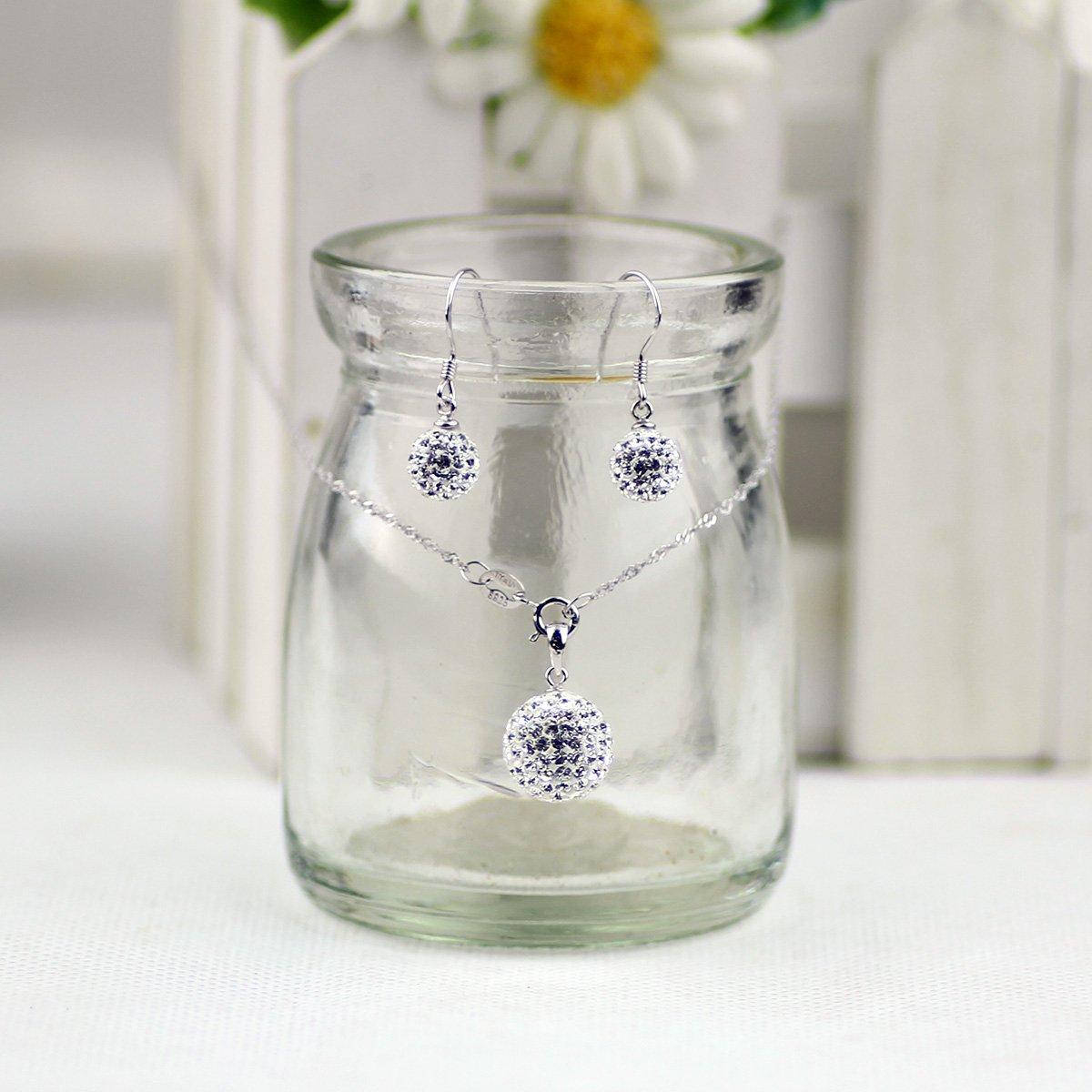 Merdia 925 En Argent Sterling Pendentif En Cristal Autrichien Et Boucles dOreilles Le Pendentif Blanc Et Boucles dOreilles Set