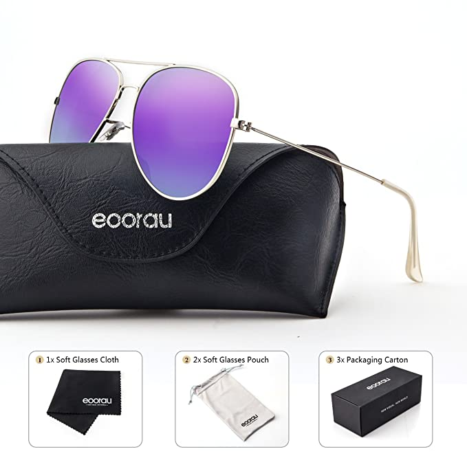 EOORAU Aviator Sunglasses Polarized for Womens Men - UV 400 with case 60MM