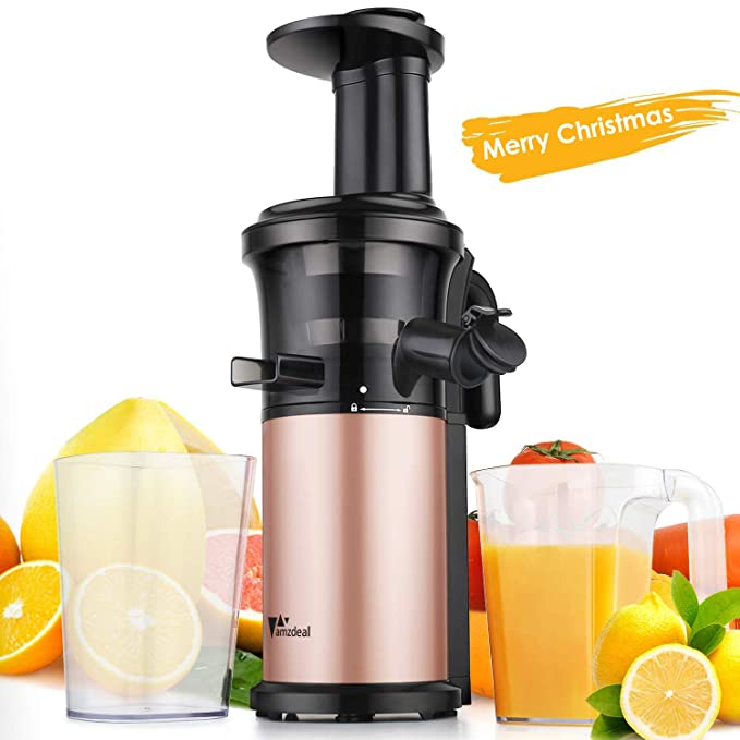 Juicer Amzdeal Slow Juicer Masticating Juicer Machine Cold Press Juicer For High Nutritional Fruits and Vegetables Juice, Easy to Clean, Quiet Motor & Reverse Function, BPA Free, 200w