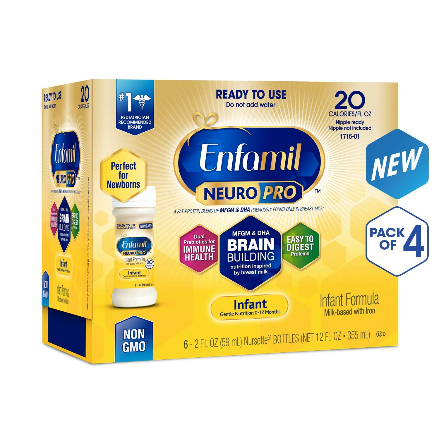 Enfamil NeuroPro Infant Formula - Brain Building Nutrition Inspired by Breast Milk - Ready to Use Liquid, 2 fl oz (24 Count) (4 Pack