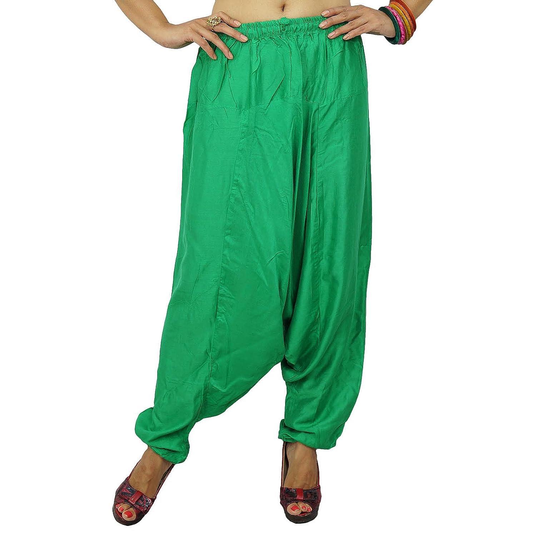 Baggy-Stil grüne Pluderhosen lose Aladdin Hosen Rayon baggy indische Hose