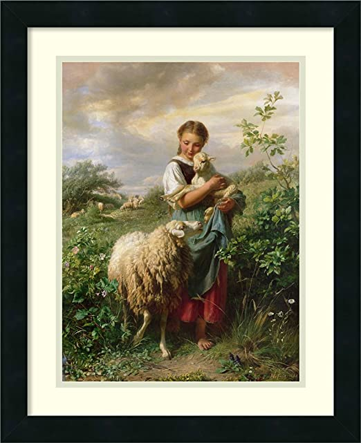 The little shepherdess by Johann Baptist Hofner Animals Repro Canvas or Paper