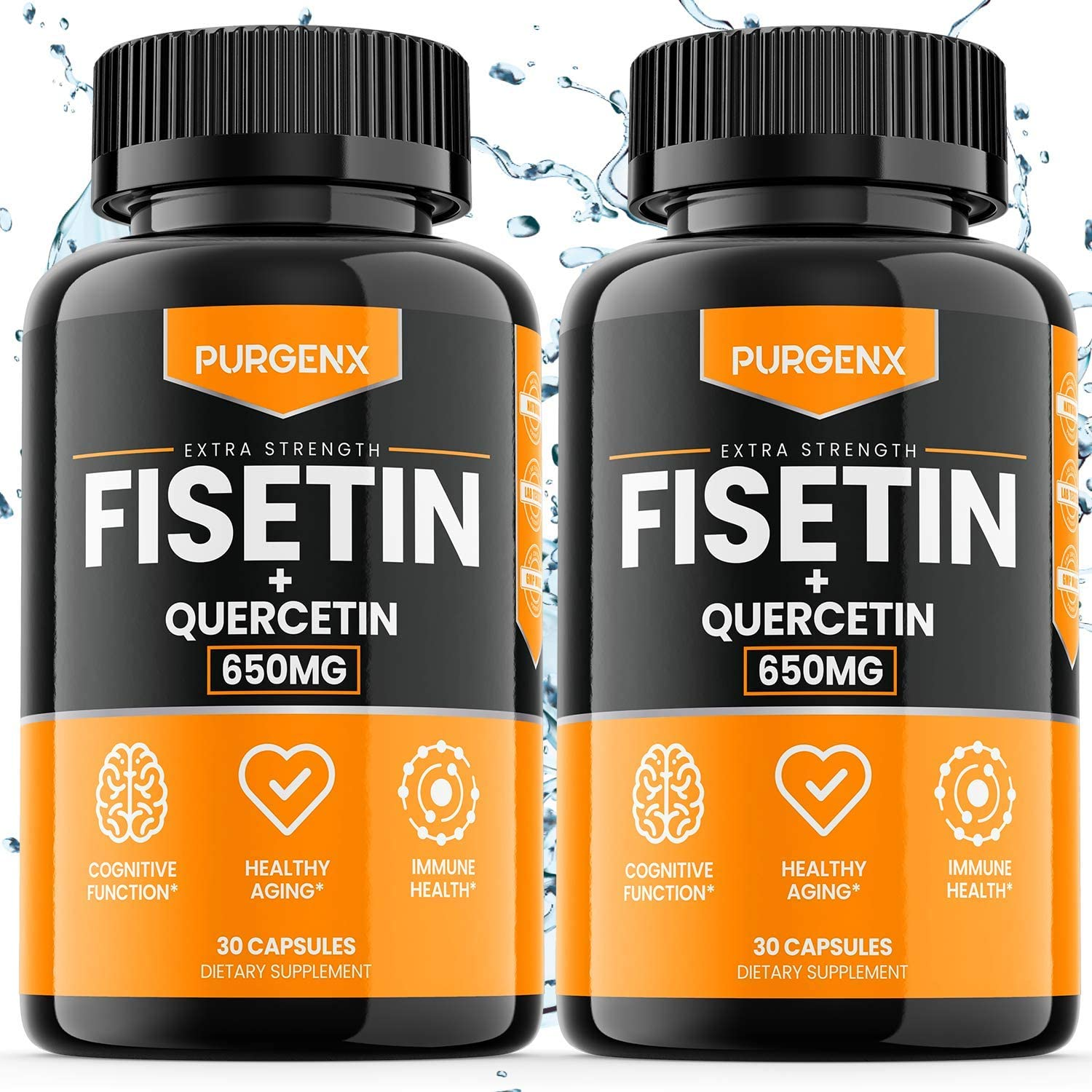 (60 Capsules   650mg) Fisetin with Quercetin 650mg Brain Booster Supplement Vitamin Pills for Anti Aging, Focus, Memory, Energy, Mood and Metabolism - Immune Support Antioxidant Flavonoid, Vegan