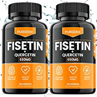 (2 Pack) Fisetin with Quercetin 650mg Brain Booster Supplement Vitamin Pills for Anti Aging, Focus, Memory, Energy, Mood…