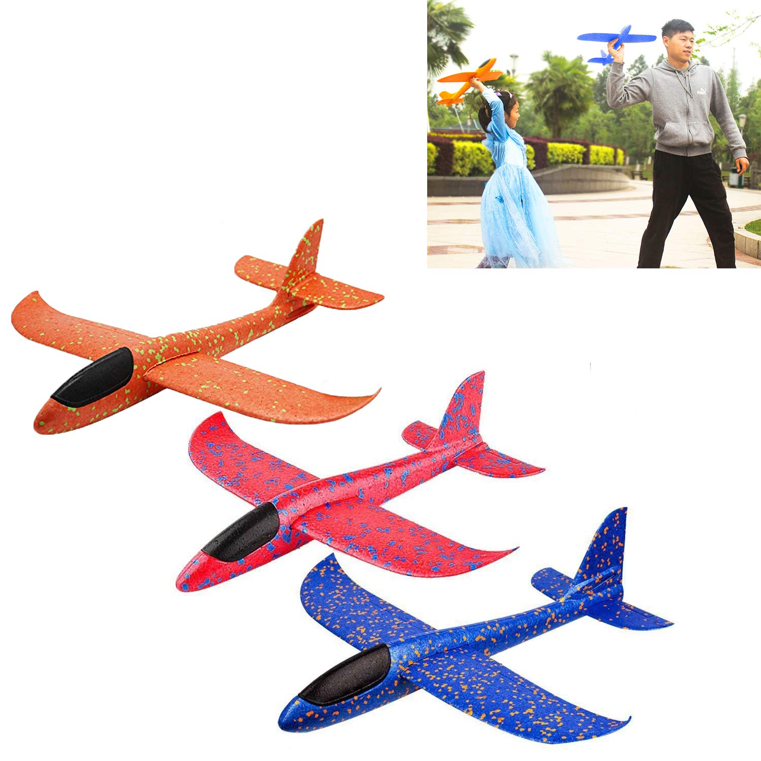 YIJIAOYUN 3Pcs Large Foam Airplanes Durable Glider Plane Flying Toy Outdoor Sports