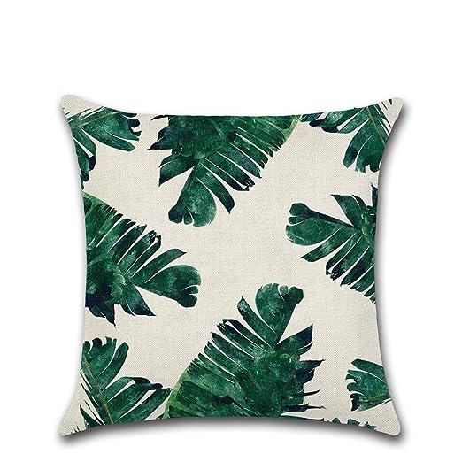 JINGXINSTORE Hojas verdes de plantas tropicales, Algodón ...