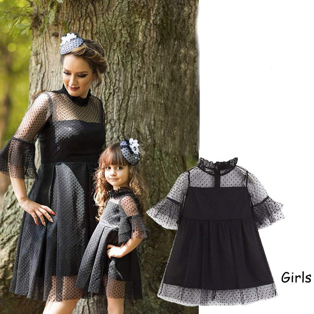 f9e6418732 PLOT❤Mommy and Me Solid Dot Net Yarn Casual Princess Dress Family Matching  Dresses Clothes  Amazon.co.uk  Clothing
