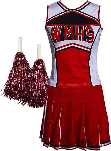 Glee estilo High School Musical Cheerio disfraz de animadora sexy con pompones gastos de envío gratis, color rosso, tamaño extra-large: Amazon.es: Ropa y accesorios
