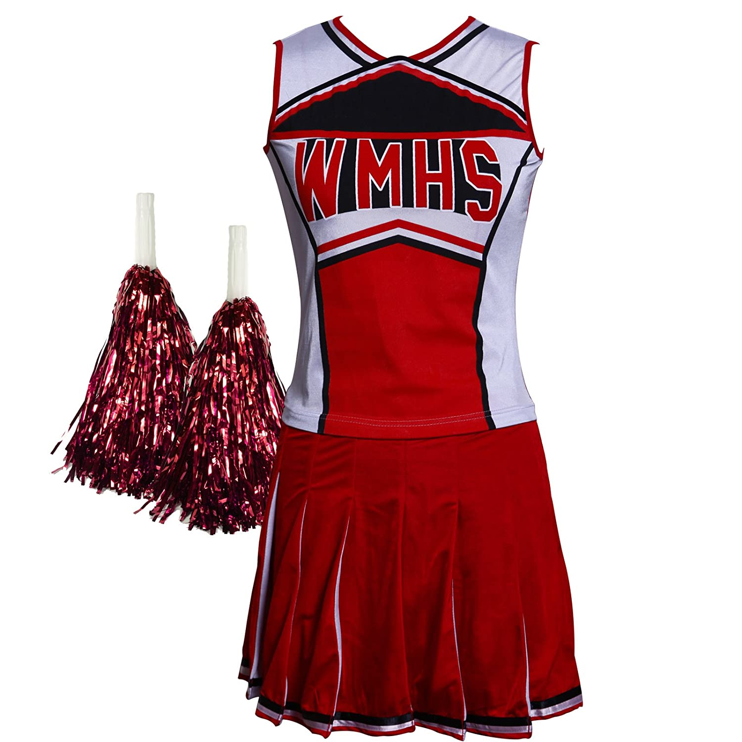 Vestito da chearleader, Glee Style High School Musical, outfit con pompon Damentraum UK_CAS0491 CAS049224