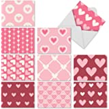 M3058 Heartfelt: 10 Assorted Blank All-Occasion Note Cards Feature Hearts in Differing Patterns, w/White Envelopes.