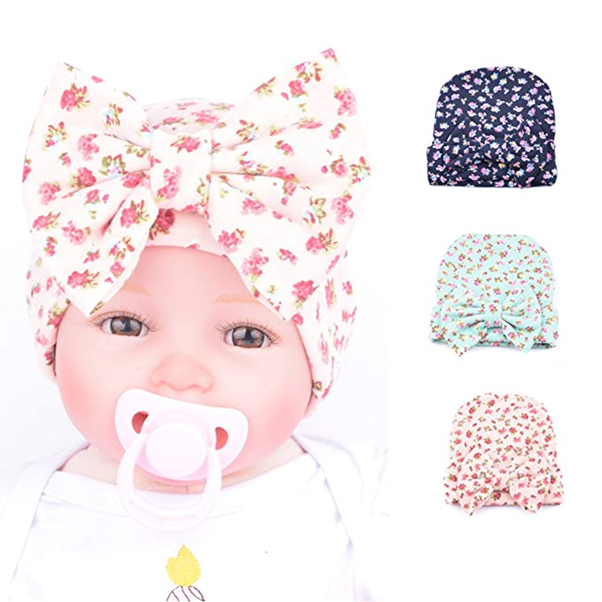 d8624ce74f8 BQUBO 3 Pack Floral Bow Newborn Hat Newborn Hospital Hat Infant Baby Hat Cap  with Big