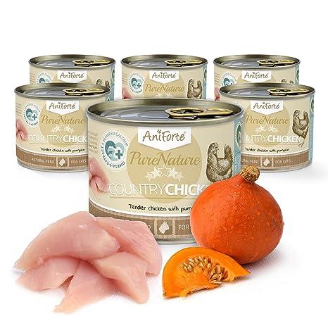 AniForte PureNature - Pollo de gato para comida húmeda (6 x 200 g),