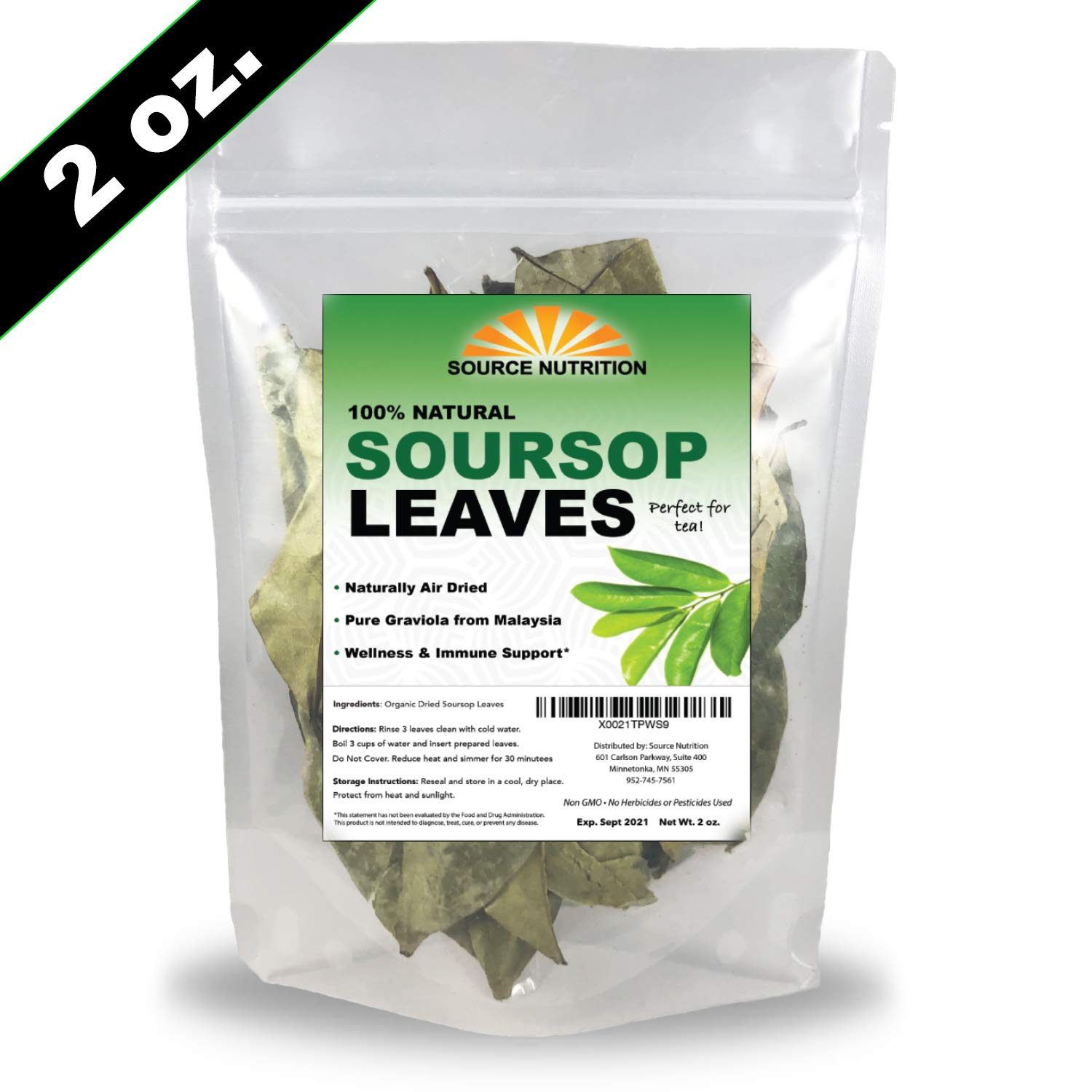 Organic Dried Soursop Leaves by Source Nutrition - Pure Graviola for Tea, Whole Dried Leaves, High in Acetogenins - 2 oz Resealable Bag
