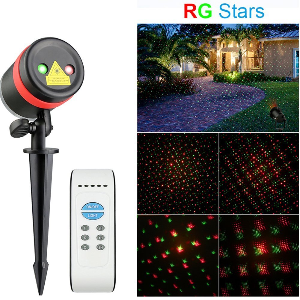 Aukora Christmas Laser Lights Led Landscape Spotlights with Remote Control Timer Waterproof R & G Star Show Pattern Outdoor Projection Lights for Christmas Decorations Holiday Party