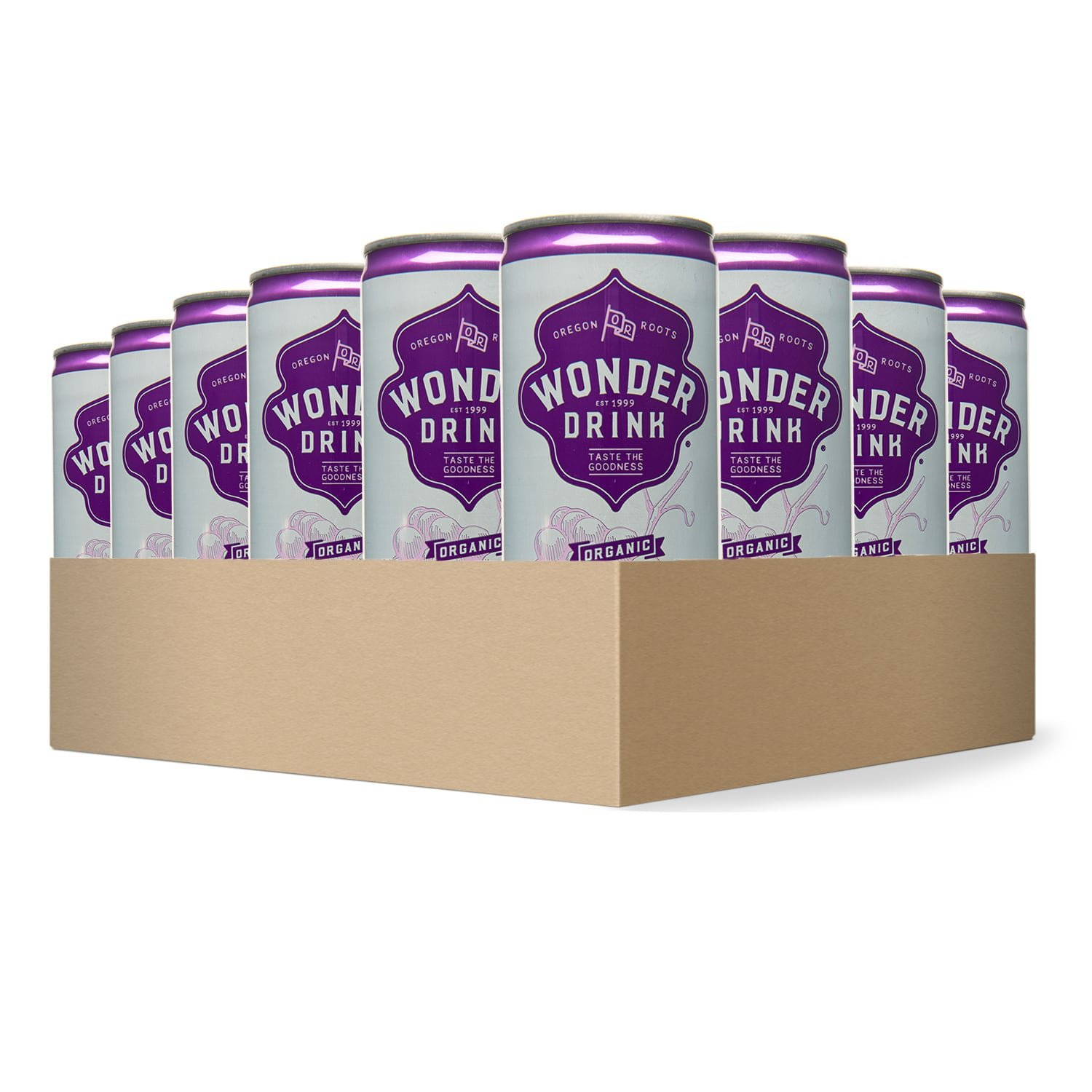 Wonder Drink Kombucha, Organic Grape Sparkling Fermented Tea, 8.4oz Can (Pack of 24) by Kombucha Wonder Drink