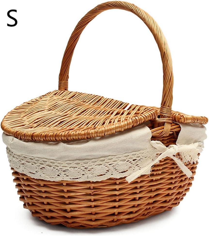 cesta de almacenamiento para fiestas cesta de almacenamiento de compras Energeti Cesta de mimbre hecha a mano cesta de picnic para acampar con tapa y asa de madera mimbre de colores