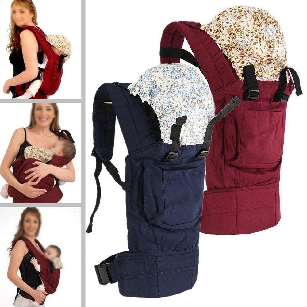 suave mochila enrollable bolsa delantera cubierta de lactancia rojo rosso Portabeb/és con sombrero transpirable correa de transporte ajustable