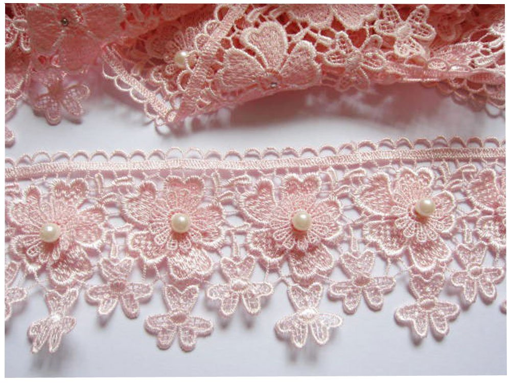 FQTANJU 3 Butterfly Lace Edge Trim Pearl Wedding Applique DIY Sewing in White 3 Yards