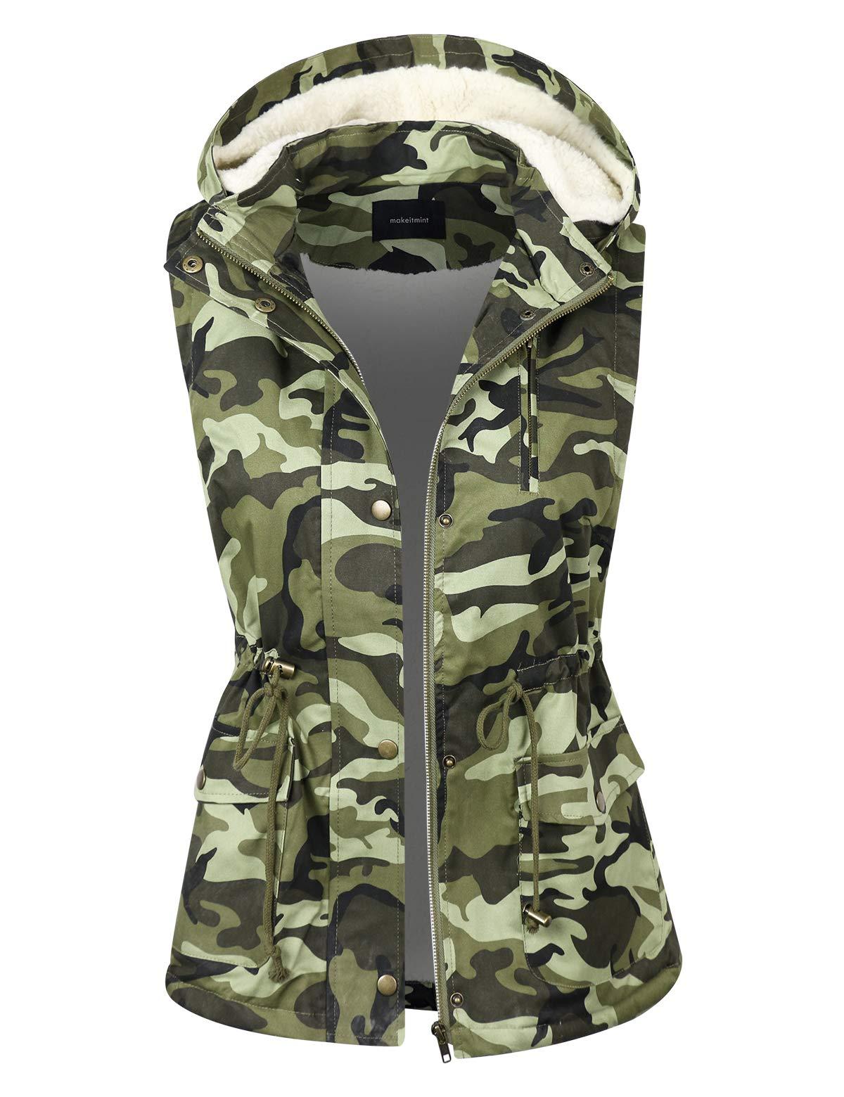 makeitmint Women's Detachable Hoodie Sherpa Lining Camouflage Anorak Jacket Vest YJV0053-CAMO-MED by makeitmint